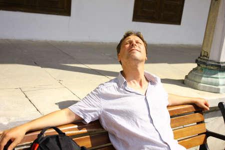 Tourist, white man in Istanbul at the sun Banco de Imagens