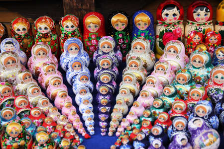 Hand-made russian dolls Matryoshka Stock Photo