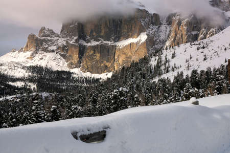 sella: the Sella Group with snow in the Italian Dolomites, Italy.
