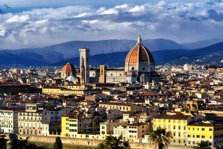 michelangelo: Cathedral of Santa Maria del Fiore as seen from Piazzale Michelangelo in Florence, Tuscany, Italy