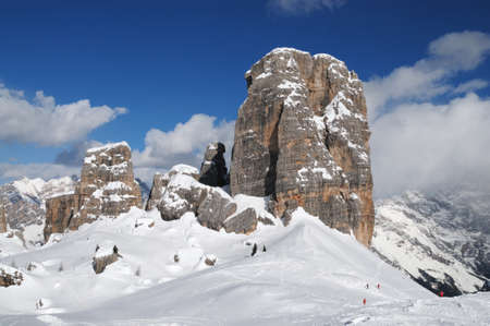 bastion: Five Towers Dolomites with snow and blue cloudy sky, in Winter, Veneto, Italy