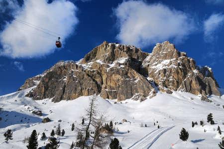 Lagazuoi mountain as seen from Falzarego in winter, Dolomites, Cortina d'Ampezzo, Belluno, Veneto, Italy.