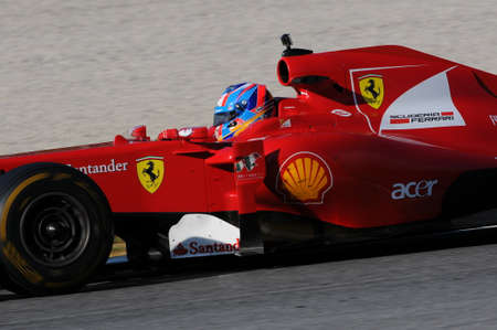 MUGELLO, IT, November, 2015: unknown run with Ferrari F1 in the mugello circuit in italy Editorial