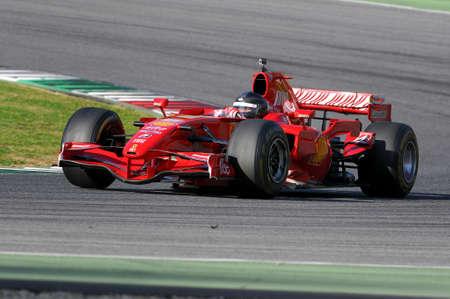MUGELLO, IT, November, 2015: unknown run with Ferrari F1 in the mugello circuit in italy