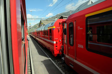 st: Swiss Mountain Train Bernina Express from Tirano to St. Moritz, Italy & Switzerland