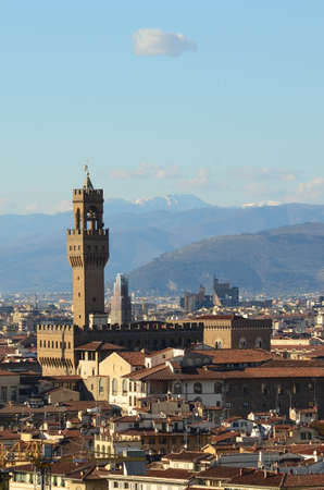 michelangelo: Palazzo Vecchio on piazza della Signora in the morning as seen from Piazzale Michelangelo. Florence, Italy. Stock Photo