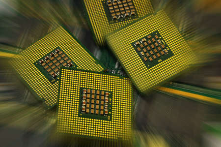 Close up of CPU Processor with postproduction effects