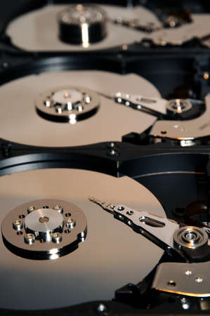 Close up of aligned open hard disk drive