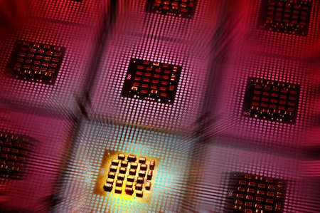 Aligned CPU Processors with postproduction light effects Stock Photo