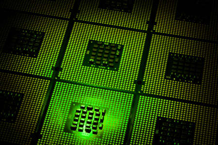 Aligned CPU Processors with Green Light Effects Stock Photo