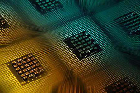 CPU Processor aligned with lights postproduction effects Foto de archivo