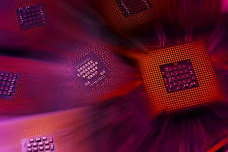 CPU-processor met rood lichteffecten Stockfoto