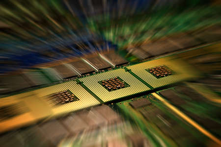 Computer processors aligned with abstract lighting effects postproduction, background.