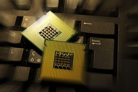 Close Up of Computer CPU on a keyboard. background. Technology concept.