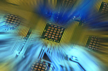 Computer processors CPU aligned and blue electronic circuit with lighting effects postproduction, background.