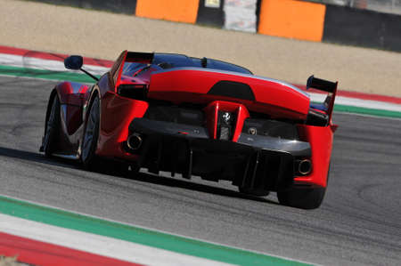 MUGELLO, ITALY - NOVEMBER 6, 2015: Unknown Ferrari FXX K drivers during XX Programs of Ferrari Racing Days in Mugello Circuit
