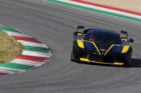 MUGELLO, ITALY - NOVEMBER 6, 2015: Unknown Ferrari FXX K drivers during XX Programs of Ferrari Racing Days in Mugello Circuit