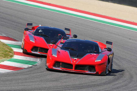 MUGELLO, ITALY - NOVEMBER 6, 2015: Unknown Ferrari FXX K drivers during XX Programs of Ferrari World Championships - Ferrari Racing Days in Mugello Circuit, Italy. Editorial