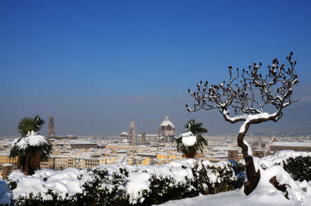 saint: Cathedral of Santa Maria del Fiore (Duomo) and giottos bell tower (bell tower), in winter with snow, Florence, Tuscany, Italy Stock Photo