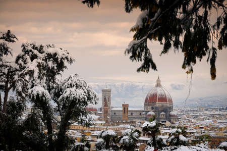 Cathedral of Santa Maria del Fiore in Florence with Snow. Italy. Stock Photo