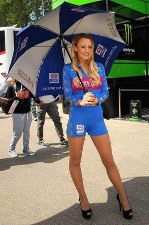 30 April 2016: Paddock Girl at SBK Championship Imola Circuit. Italy. 報道画像
