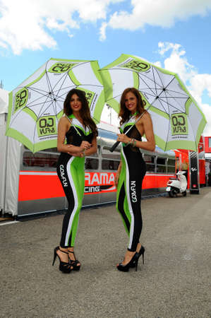 31 May 2014: Paddock Girls at MotoGP Championship in Mugello Circuit. Italy.