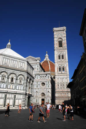 The Cathedral of Santa Maria del Fiore with the Baptistery and the Giottos bell tower in Florence. Italy. Редакционное