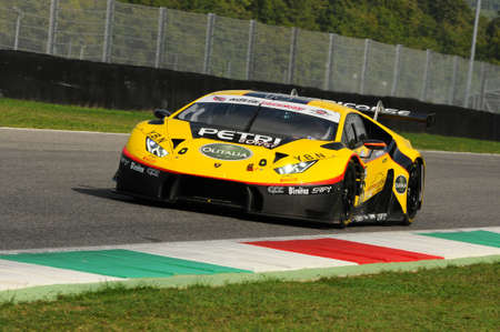 Mugello Circuit, Italy - 6 October, 2017: Lamborghini Huracan of Petri Corse Motorsport Team driven by Baruch Bar - Mapelli Marco during the final round of C.I. Gran Turismo Super GT3-GT3 in Mugello Circuit.