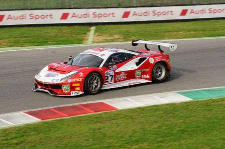 Mugello Circuit, Italy - 6 October, 2017: A Ferrari 488 of Scuderia BAL driven by CHEEVER III Edward - MALUCELLI Matteo, the final round of C.I. Gran Turismo Super GT3-GT3 in Mugello Circuit. Editorial