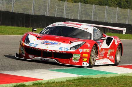 imola: Mugello Circuit, Italy - 6 October, 2017: A Ferrari 488 of Scuderia BAL driven by CHEEVER III Edward - MALUCELLI Matteo, the final round of C.I. Gran Turismo Super GT3-GT3 in Mugello Circuit. Editorial