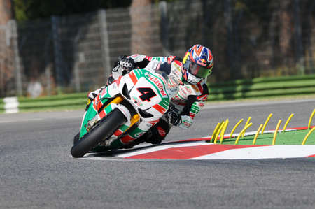 San Marino, Italy - Sep 24, 2011: Jonathan Rea GBR (Honda CBR1000RR) Castrol Honda in action during the Superbike Practice in Imola Circuit, Italy