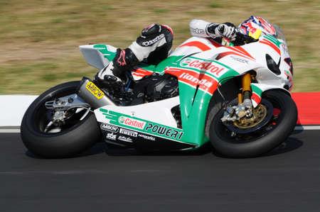 sep: San Marino, Italy - Sep 24, 2011: Jonathan Rea GBR (Honda CBR1000RR) Castrol Honda in action during the Superbike Practice in Imola Circuit, Italy