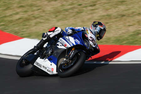 San Marino, Italy - Sep 24, 2011: Yamaha YZF R1 of Yamaha World Superbike Team, driven by Marco Melandri in action during the Superbike Practice in Imola Circuit, Italy
