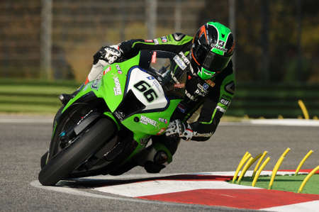 imola: San Marino, Italy - Sep 24, 2011: Italy: Tom Sikes of Great Britain Kawasaki Racing Team rides in action during the Superbike Practice in Imola Circuit, Italy