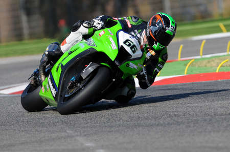 San Marino, Italy - Sep 24, 2011: Italy: Tom Sikes of Great Britain Kawasaki Racing Team rides in action during the Superbike Practice in Imola Circuit, Italy