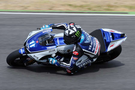 MUGELLO Circuit - JULY 13, 2012: Ben Spies of Official Team Yamaha during the Qualifying Session of MotoGP Grand Prix of Italy.