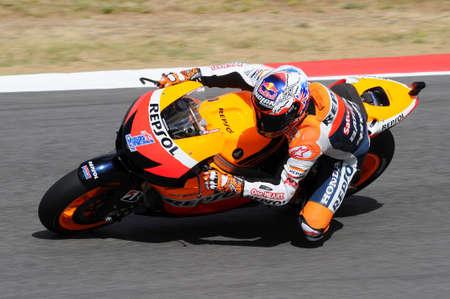 MUGELLO - JULY 13: Casey Stoner of Repsol Honda team races at Qualifying Session of Moto GP Grand Prix of Italy on July 13, 2012 in Mugello Circuit, Italy.