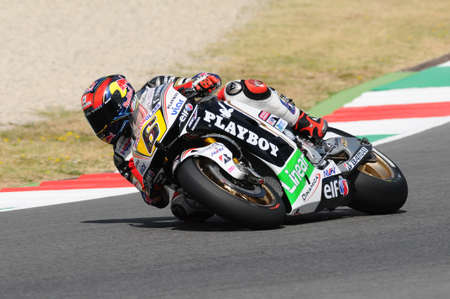 MUGELLO - JULY 13: Stefan Bradle of LCR Honda team races at Qualifying Session of Moto GP Grand Prix of Italy on July 13, 2012 in Mugello Circuit, Italy.