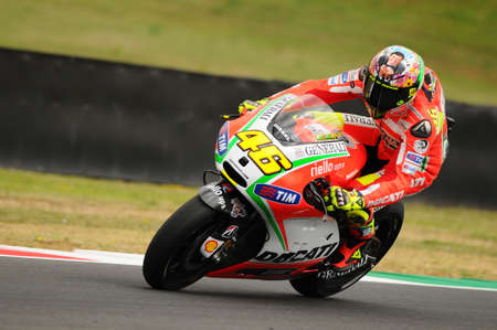MUGELLO - ITALY, JULY 13 2012: Italian Ducati rider Valentino Rossi during 2012 TIM MotoGP GP of Italy. Editorial