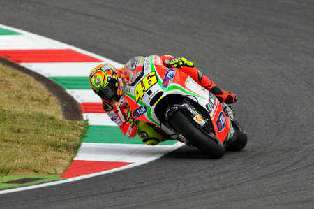 MUGELLO - ITALY, JULY 13 2012: Italian Ducati rider Valentino Rossi during 2012 TIM MotoGP GP of Italy. 版權商用圖片