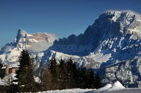 Beautiful and scenic landscape of Pelmo and Civetta group in the Italian Dolomites. Trentino Alto-Adige, Italy.