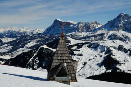 Sasso della Croce and Conturines mountains in winter, Alta Badia. Dolomites, Italy. Editöryel