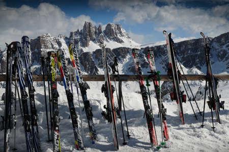 Alta Badia, January 2009: Aligned Ski at Rifugio Scoiattoli in front of Croda da Lago in the Italian Dolomites. Veneto, Italy