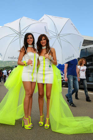 MUGELLO, IT, May 2014: Unidentified Pit Babe poses for the paddock during MotoGP GP of Italy 2014 at the Mugello Circuit in Italy