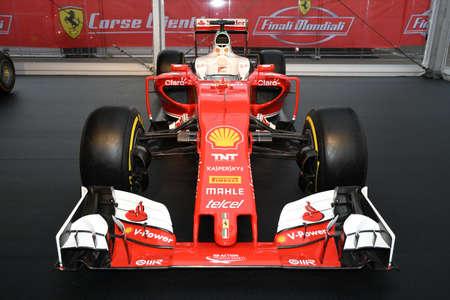 MUGELLO, IT, October, 2017: Ferrari F1 SF15T 2015 at Paddock Show of Ferrari Anniversary 1947-2017 in Mugello Circuit at Finali Mondiali Ferrari 2017. Italy