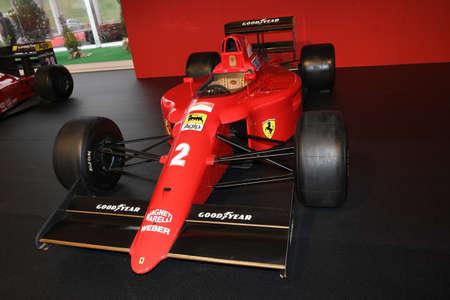 MUGELLO, IT, October, 2017: Ferrari F1 90 1990 of Alain Prost and Nigel Mansell at Paddock Show of Ferrari Anniversary 1947-2017 in Mugello Circuit at Finali Mondiali Ferrari 2017. Italy