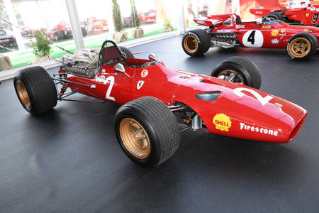 MUGELLO, IT, October, 2017: Vintage Ferrari F1 312 1967 of Lorenzo Bandini and Chris Amon at Paddock Show of Ferrari Anniversary 1947-2017 in Mugello Circuit at Finali Mondiali Ferrari 2017. Italy Editorial