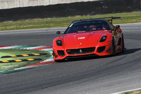 MUGELLO, ITALY - OCTOBER 2017: Unknown drives Ferrari 599XX during XX Programmes of Finali Mondiali Ferrari at Mugello Circuit in Italy Editorial