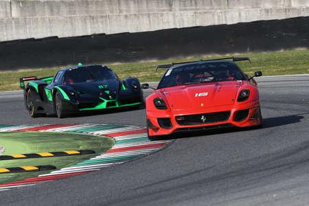 MUGELLO, ITALY - OCTOBER 2017: Unknown drives Ferrari 599XX during XX Programmes of Finali Mondiali Ferrari at Mugello Circuit in Italy Editorial