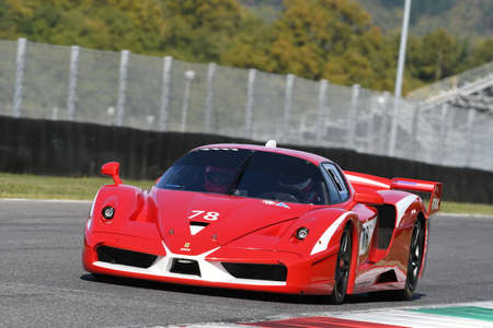 MUGELLO, ITALY - OCTOBER 2017: Unknown drives Ferrari FXX during XX Programmes of Finali Mondiali Ferrari at Mugello Circuit in Italy